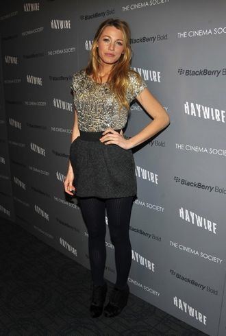 Blake Lively Cinema Society BlackBerry Bold Haywire Screening New York City cropped
