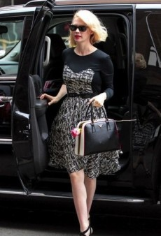 January Jones: Look of the Day – Black and White Abstract Print Dress