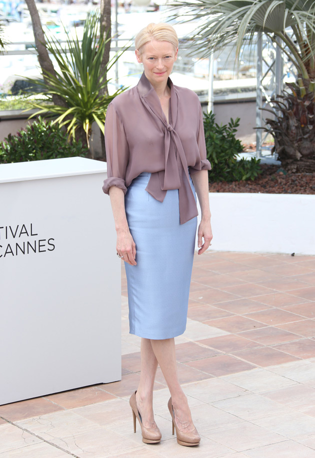Tilda Swinton in Haider Ackermann and Nicholas Kirkwood shoes at Cannes photocall