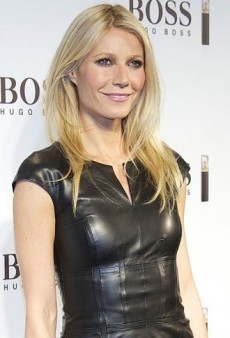 Look of the Day: Gwyneth Paltrow's Black Leather Hugo Boss Dress