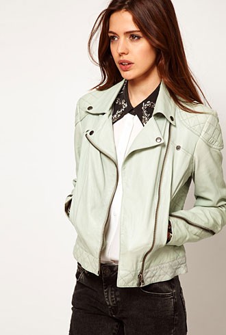 Asos mint green leather biker jacket - forum buys