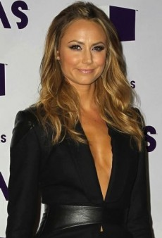 Look of the Day: Stacy Keibler's Leather-Accented Monique Lhuillier Fall 2012 Suit