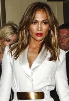 Jennifer Lopez's Bright White Reem Acra Spring 2013 Shawl Collar Dress