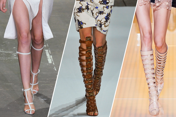 gladiator sandals - Alexander Wang, Altuzarra, Versace Spring 2013 RTW, images: IMAXtree