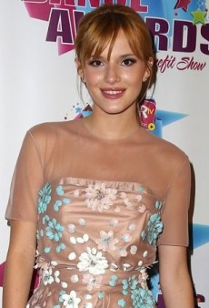 Bella Thorne Stays Neutral in a Floral Embellished Blumarine Fall 2013 Dress