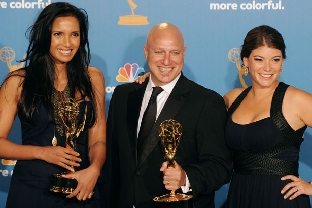Hosts Padma Lakshmi, Tom Colicchio and Gail Simmons, winners of the Reality - Competition Program Award for 'Top Chef' pose in the press room at the 62nd Annual Primetime Emmy Awards, image: Getty