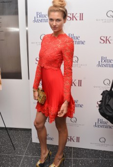 Get the Look: Jessica Hart Stuns in Red and Gold at the Blue Jasmine NY Premiere
