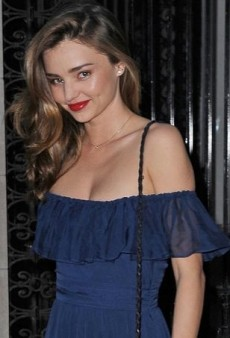 Miranda Kerr's Blue Gucci Silk Peasant Dress