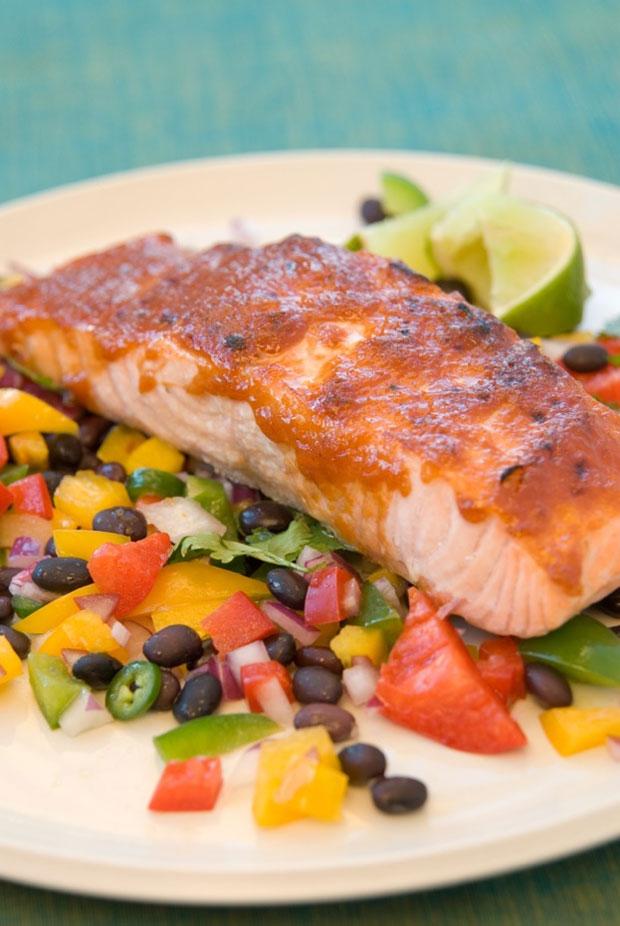 Caribbean Salmon with Mango-Veggie Salsa & Guava Barbecue Sauce