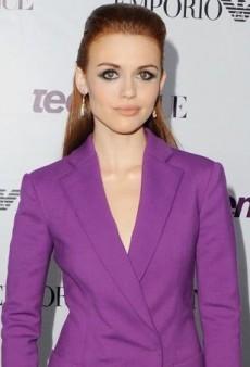 Holland Roden's Purple Emporio Armani Double-Breasted Blazer Dress