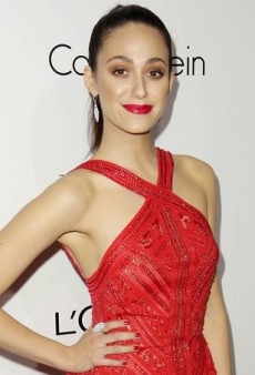 Emmy Rossum Revs Up the Red in Elie Saab