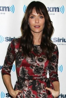 Katie Aselton Stops by the SiriusXM Studios in a Floral Lublu Fall 2013 Dress