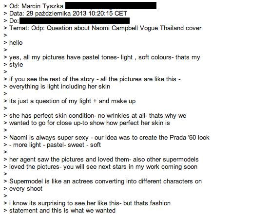 Marcin Tyszka's email in response to Naomi Campbell photoshop allegations