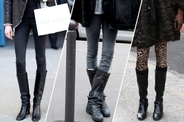 three women wearing boots for slim calves