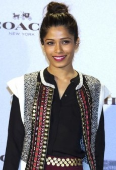 Freida Pinto Attends a Coach Boutique Opening in an Eclectic Hoss Intropia Ensemble