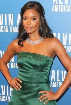 Gabrielle Union Goes Green in a Strapless Prada Gown