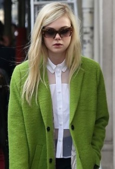 Elle Fanning Brightens Up the City of Light in a Lime Green Topshop Coat