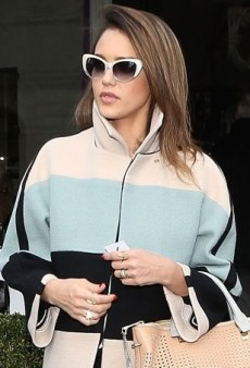 Jessica Alba Epitomizes Parisian Chic in a Stellar Striped Chloe Coat