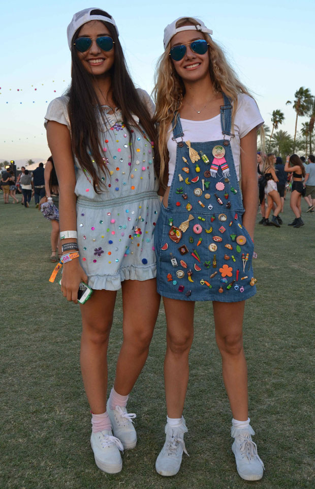 girls wearing DIY embellished denim at Coachella