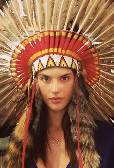 Alessandra Ambrosio Gets 'Inspired' for Coachella with a Native American Headdress