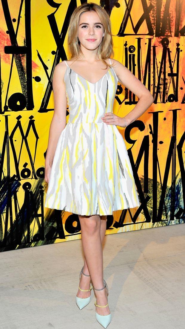 Kiernan Shipka charms in a pretty Preen dress