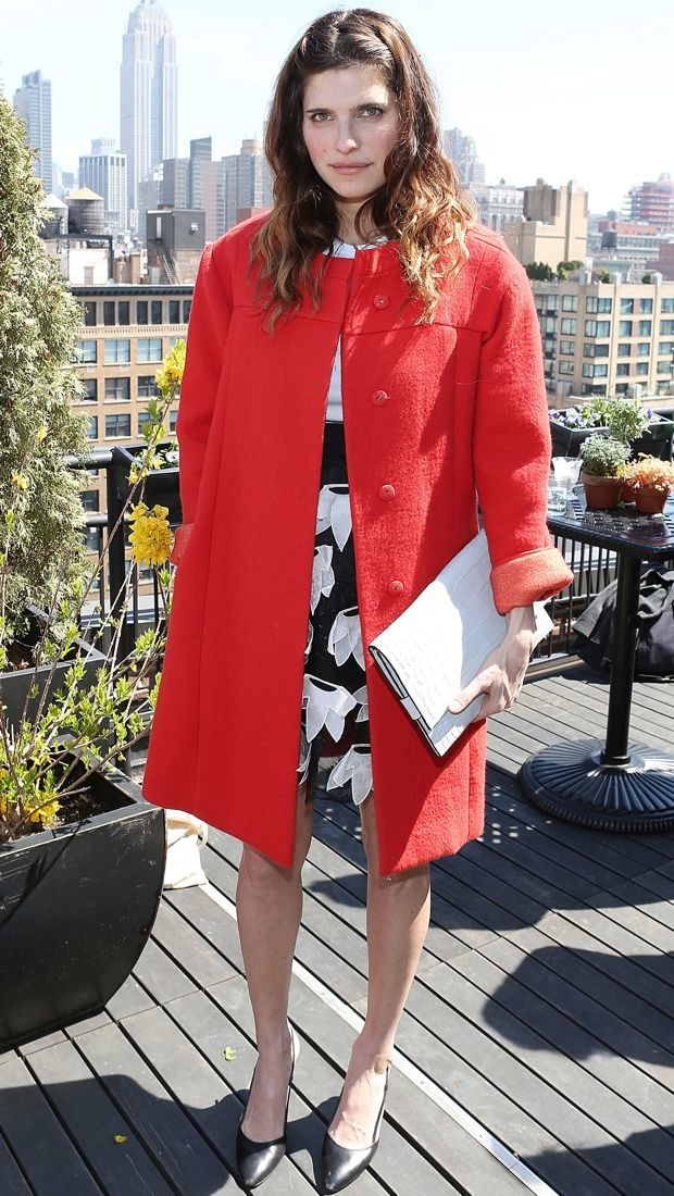 Lake opts for a multidimensional Chloe skirt and red coat combo