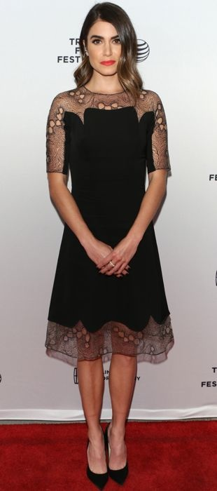 Nikki rocks Lela Rose's little black dress at the Tribeca Film Festival