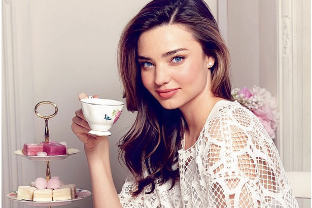 Model Miranda Kerr pictured with her tea set for Royal Albert