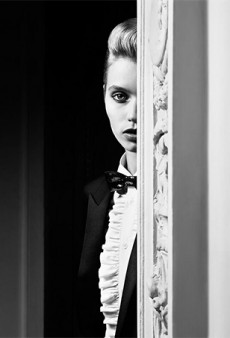 Hedi Slimane Taps Abbey Lee Kershaw for 'Le Smoking' Saint Laurent Campaign