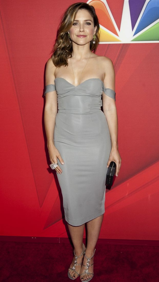 Sophia Bush wears a gray Cushnie et Ochs Spring 2014 halter dress off-the-shoulder in New York City