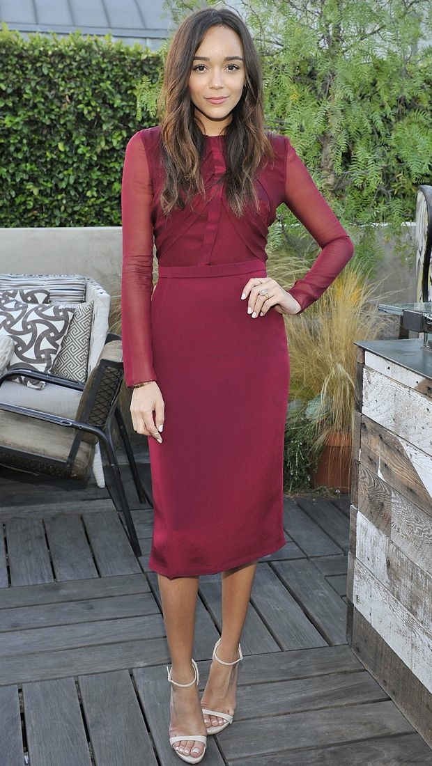 Ashley Madekwe embraces fall in a burgundy Cushnie et Ochs dress