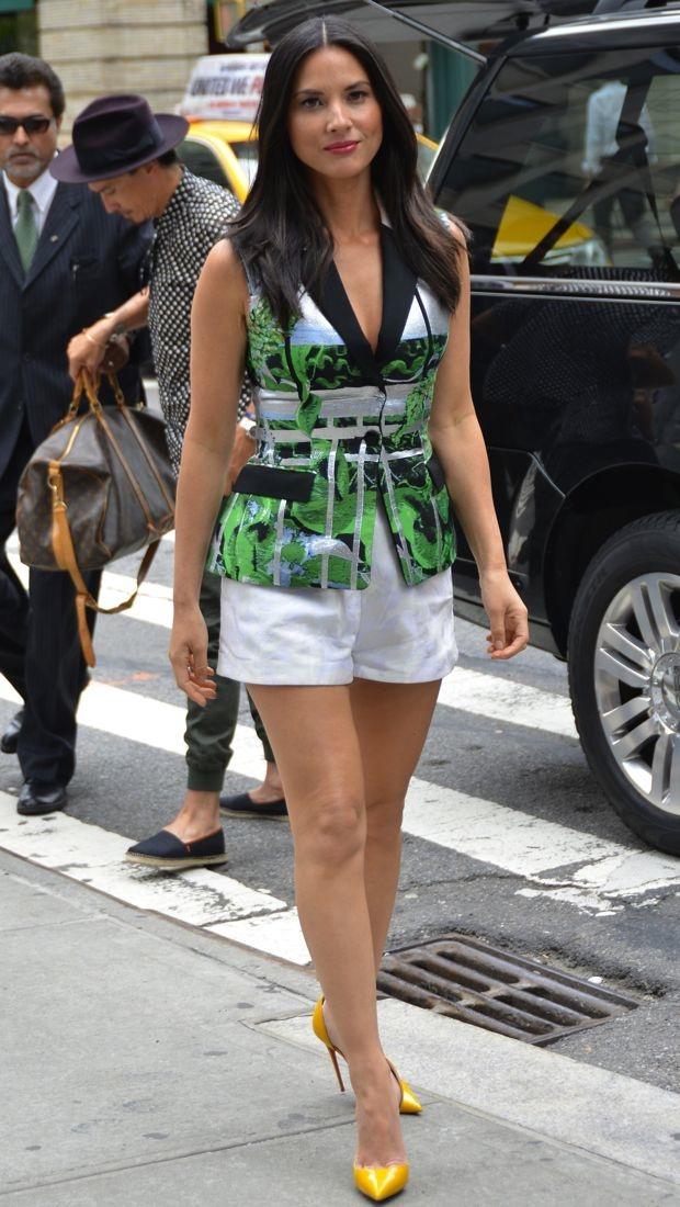 Olivia Munn pairs Peter Pilotto's printed jacquard vest with white jacquard shorts