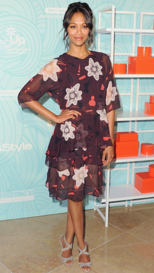 Zoe Saldana wears a printed Chloe Fall 2014 creation