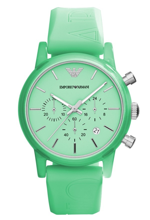 green rubber strap armani sport watch