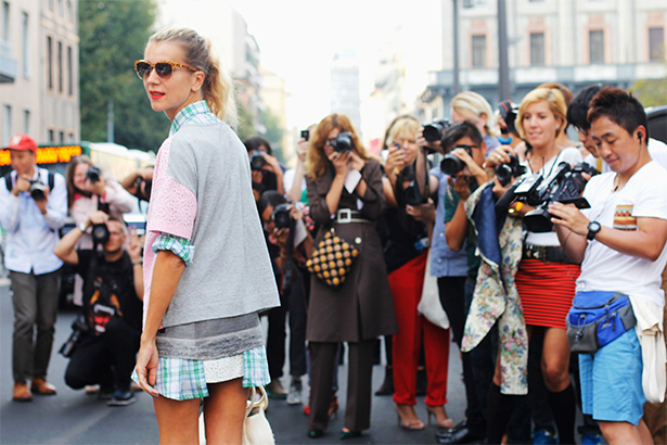 Blogger Natalie Joos of Tales of Endearment attends the Alberta Ferretti show during Milan Fashion Week