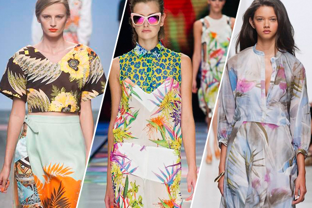 tropical prints on the spring 2014 runway