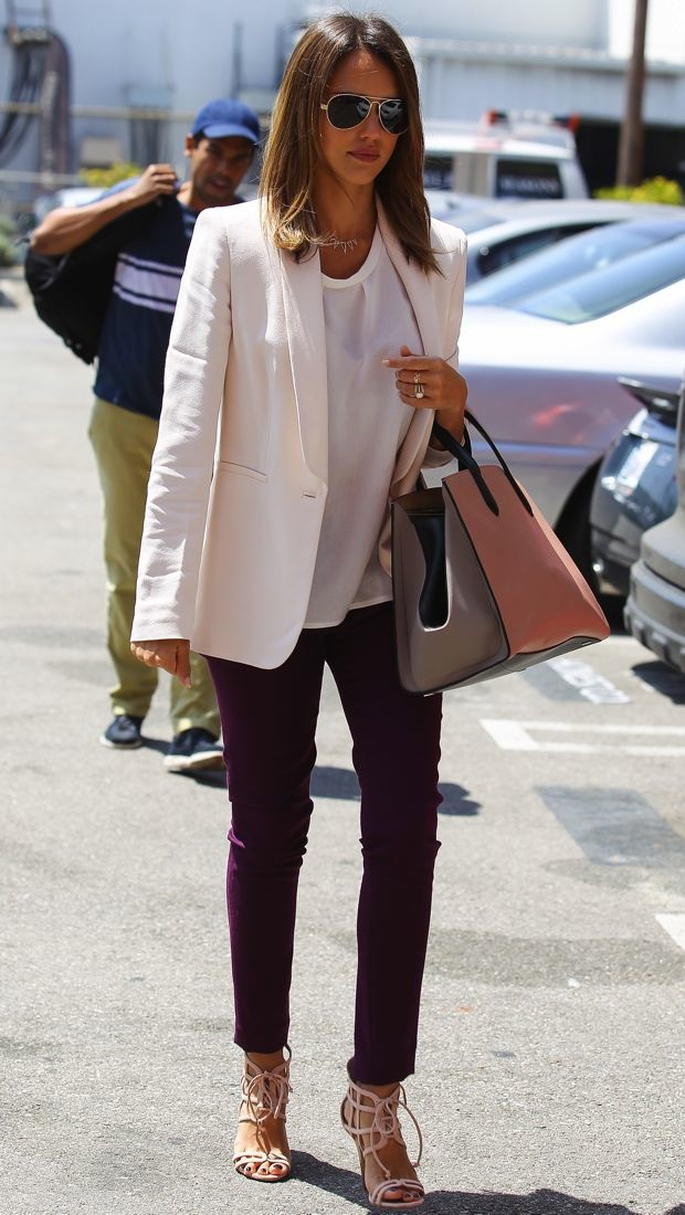 Jessica Alba heads to a meeting in an ivory Max Mara blazer and plum Julia Korol pants