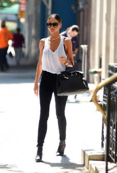 Miranda Kerr Takes the Streets of New York in Sexy Monochrome and Gold