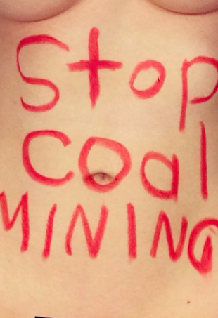 Robyn Lawley Coal Mining Protest