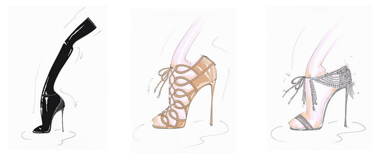 Sketches from the AQUAZZURA and Olivia Palermo Collab