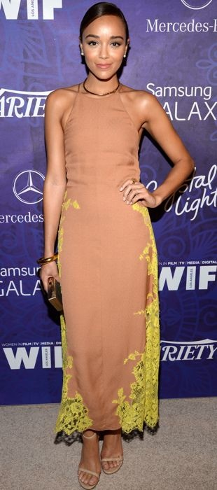 Ashley Madekwe in Wes Gordon at a Pre-Emmy party