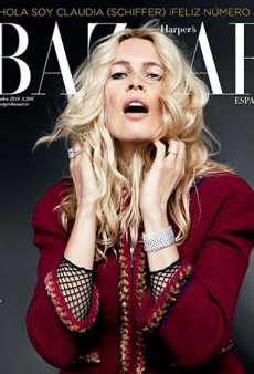 Claudia Schiffer Looks Creepy on Harper's Bazaar Spain's September Cover (Forum Buzz)