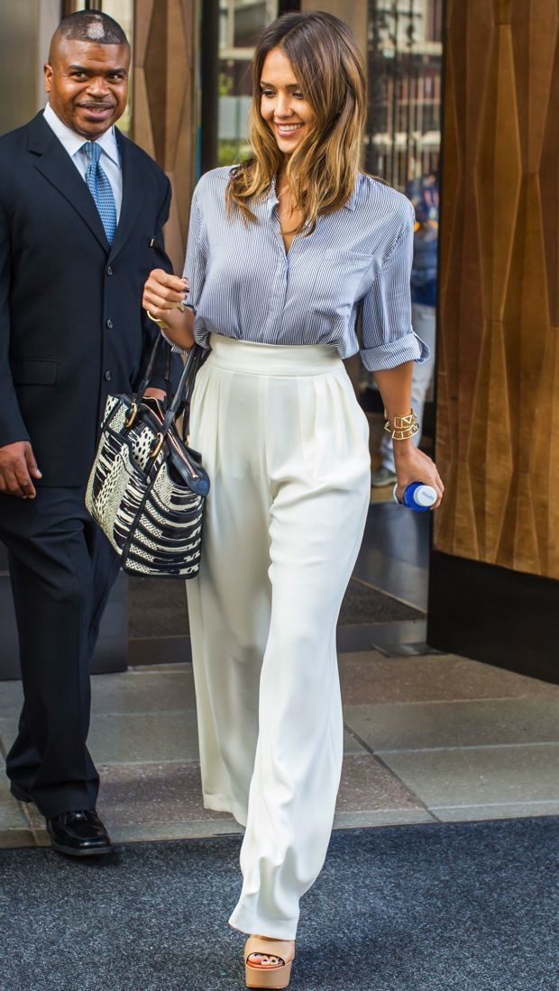 Jessica Alba in New York City wearing an Alice + Olivia blouse and Max Mara pants