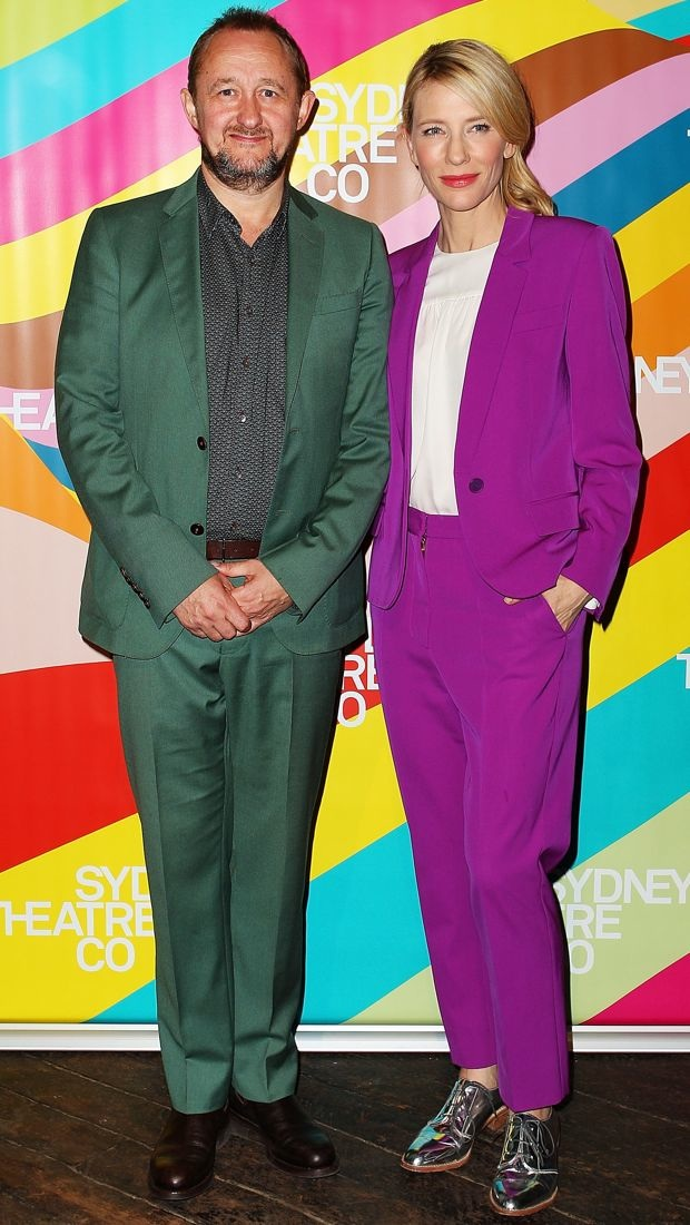 Cate Blanchett unveils the show list in a purple Stella McCartney suit