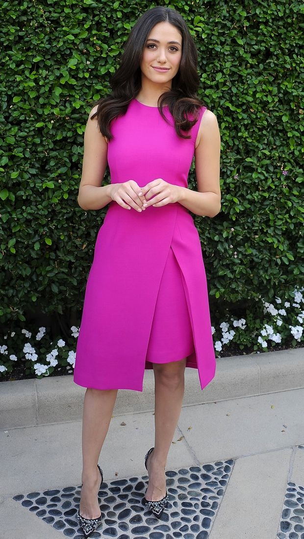 Emmy Rossum brunches in a fuchsia sleeveless dress