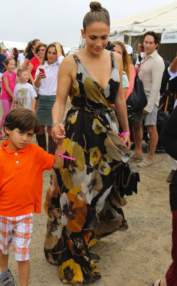 Jennifer Lopez wears a floral Gucci maxi dress to a horse show