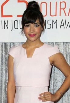 Hannah Simone Punches Up Her Pink GUiSHEM Dress with Bright Pink Pumps