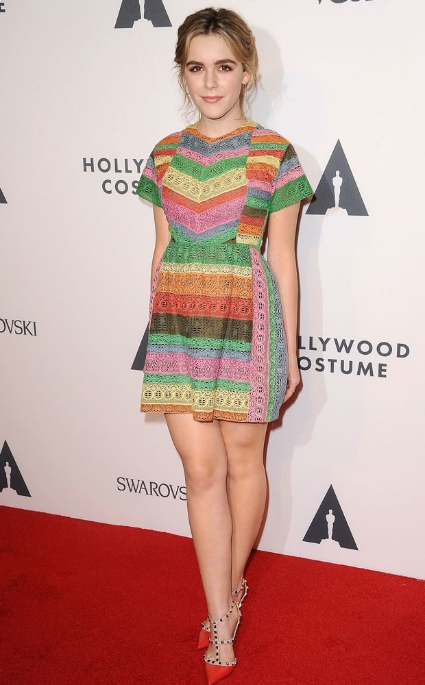 Kiernan Shipka rocks a rainbow-hued Valentino Resort 2015 dress