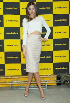 Miranda Kerr Gets Prim and Proper for a Wonderbra Signing, of All Things