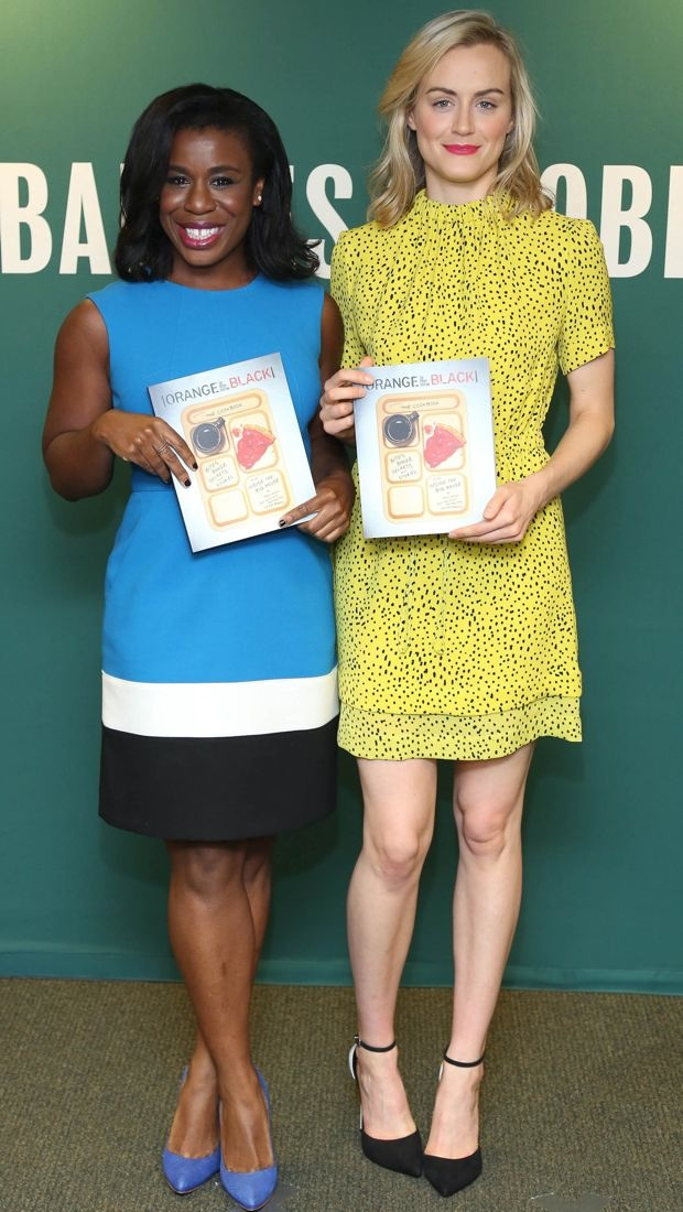 Taylor Schilling promotes cookbook in yellow A.L.C. dress